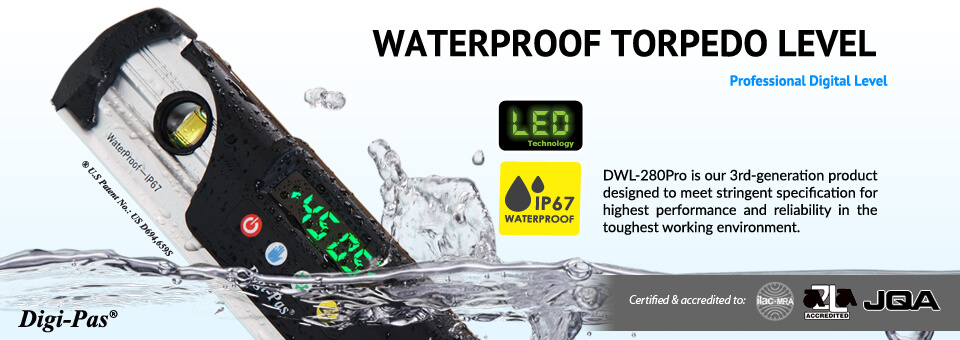 Waterproof Torpedo Digital Level - Model DWL 280Pro